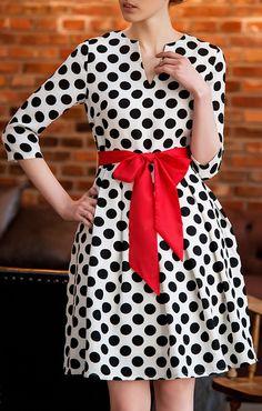 #Dress #Red #Vestido #Anos80 #Laço #Poa #Retrô