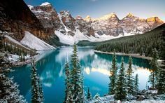 Another beautiful winter shot of Moraine Lake in Banff National Park Alberta Canada Parc National De Banff, National Parks, Alberta Canada, Banff Alberta, 1366x768 Wallpaper Hd, Lago Moraine, Natural Mirrors, Wallpaper Flower, Hd Wallpaper