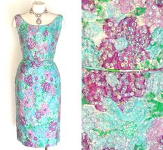 50s 60s Dress Sequined Floral Vintage Party by DeannesVintage