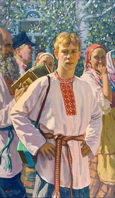 Russian costume in painting. Pavel Popov. Sergei Esenin in a folk Russian shirt. 2012.