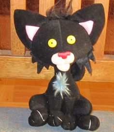 "7"" 2005, 2007 MERRYMAKERS Nick Bruel  BLACK Bad Kitty PLUSH Cat   23 #Merrymakers"