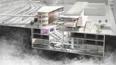 Sección del proyecto. Imagen del vestíbulo. Nueva estación de metro de Saint-Denis Pleyel Emblematic en París por Kengo Kuma. Señala encima de la imagen para verla más grande.