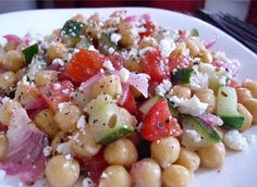 Mediterranean Garbanzo Salad - cheap, simple, healthy. Serve on the side of grilled chicken or fish.