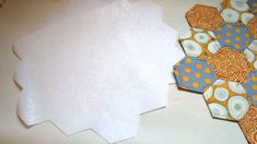 Hexagon place mat and how to use fusible interfacing to add a backing.