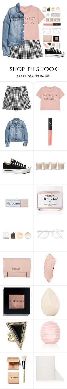 """""""DIY"""" by for-the-love-of-pink ❤ liked on Polyvore featuring Monki, H&M, NARS Cosmetics, Converse, Shabby Chic, Herbivore Botanicals, Korres, RetroSuperFuture, GUESS and Chanel"""