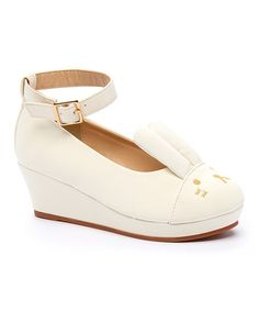 This White Cloud Bunny Wedge Pump is perfect! #zulilyfinds