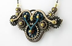 Wood laser cut gear necklace — green tree designs
