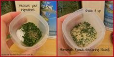 Homemade Ranch Seasoning Packets; mix with greek yogurt and voila! High protein healthy veggie dip with no MSG like the ranch packets contain