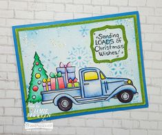 A snowy background and colorful load for #Christmas wishes. #Cre8time for handmade cards. #stampendous