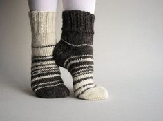 Asymmetrical Hand Knitted Socks - Striped, Woolen, Natural