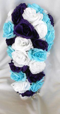Malibu blue white and royal purple cascade by VictoriaSilkDesigns Aqua Wedding Colors, Dark Purple Wedding, Purple Wedding Tables, Black Wedding Themes, Purple Wedding Decorations, Cascading Wedding Bouquets, Purple Wedding Flowers, Quince Decorations, Cascade Bouquet
