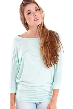 Ladies Mint Dolman Style 3/4 Sleeve Long Hem Top Clothes Effect http://www.amazon.com/dp/B00GCG639S/ref=cm_sw_r_pi_dp_WEzYub1TSAK62