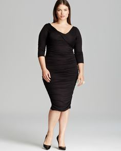 Someone like CH, who is transitioning from her old shape to her new shape, often needs a push in wearing more form fitted clothing. Small middle, alrger hips - she is made for  a dress like this one, or similar. I would suggest a 1X Melissa Masse.  Melissa Masse Plus Asymmetric Ruched Dress | Bloomingdale's