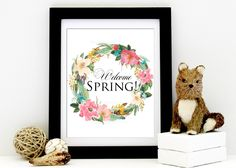 Welcome Spring Floral Wreath Printable, Spring Home Decor Printable Digital Art INSTANT DOWNLOAD by AnayaMichelleDecor on Etsy