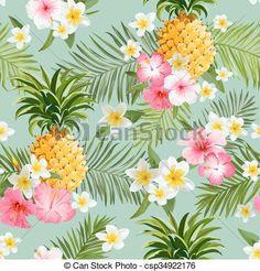 Vector - tropical, flores, piñas, Plano de fondo, -, vendimia, Seamless, patrón…