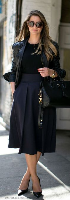 black on black | midi skirt | moto jacket | chic bag