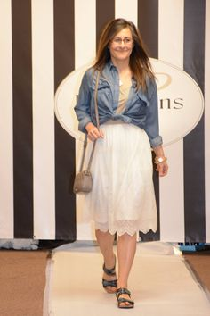 Spring Trend - Denim.  I love how feminine it looks with this lace dress