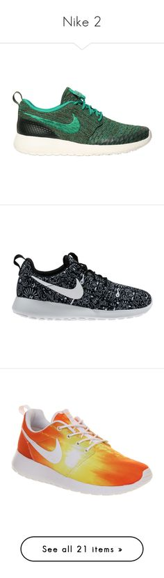 """""""Nike 2"""" by bosslanaia ❤ liked on Polyvore featuring shoes, sneakers, nike, green, flyknit shoes, nike footwear, green shoes, green sneakers, zapatos and shoe club"""