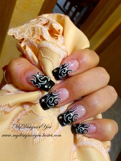 Rock Chick, Black and White, Tattoo Nails. www.youtube.com/user/MyDesigns4You