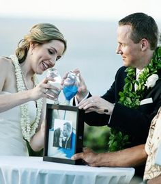 Sand ceremony inside of a shadow-box picture frame   Photo by Shawn Starr