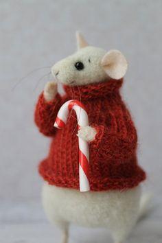 Weihnachts-Maus, Weihnachten Tier, Filz Maus, Eco-Spielzeug