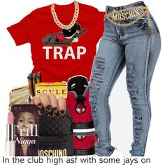 A fashion look from February 2015 featuring red shirt, high-waisted jeans and Moschino. Browse and shop related looks.