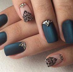 Emerald green matte nails