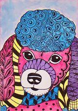 ACEO LE ART Print Dog Poodle Zentangle Pet Portrait Animal Doodle LaRusc