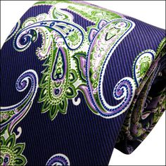 D15 Paisley Multicolor Navy Blue Mens Ties Neckties 100% Silk ...
