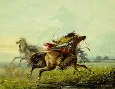Il Duello. Un guerriero crow scaglia la sua freccia contro il nemico che si ripara abilmente dietro il fianco della sua cavalcatura.