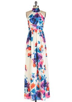 A Classy of Its Own Dress in Floral. Theres no need for elaborate accessories when youre wearing this halter maxi dress, which will be available for purchase in March. #multi #prom #modcloth