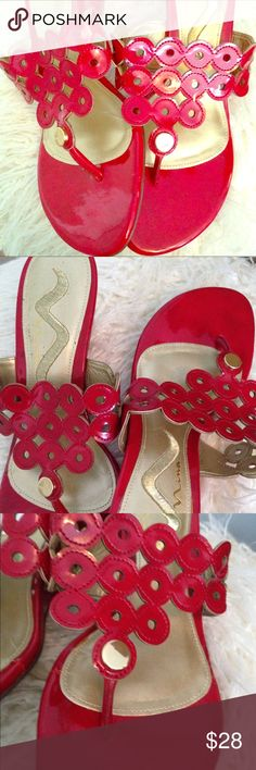 NWT Nina red patent leather and gold sandals NWT never worn, Nina patent leather and gold embellished sandal size 5.5. Nina Shoes Sandals