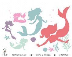 Digital Mermaid Clip Art, Digital Clipart for digital scrapbooking, frame, tag, lable, invitation, stationery - BUY 1 GET 1 FREE