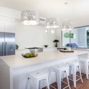 Gallery of modern white kitchen design ideas with style & functionality. Here are modern kitchen designs with a variety of cabinets, tables, appliances and Modern Kitchen Lighting, Kitchen Island Lighting, Kitchen Lighting Fixtures, Kitchen Pendant Lighting, Kitchen Pendants, Drum Pendant, Pendant Lights, Mini Pendant, Light Fixtures