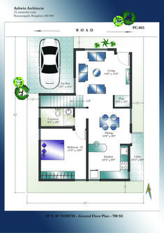 Looking for superior 30 X 40 North Facing House Plans in India? Get 30 X 40 House Plan for North Facing site. Best North facing 30 X 40 House Plans in India