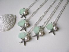 RESERVED 5 Sea Glass Jewelry Bridesmaid Jewelry by BostonSeaglass, $110.00