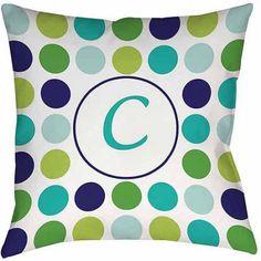 Thumbprintz Dots Monogram Green Decorative Pillows