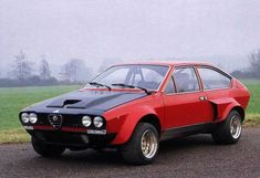 Alfetta GTV8 by Autodelta aka La Bomba i had this car fast heay hard to drive but you could really wind this bad girl up