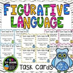 Practice figurative language using this set of task cards.  Covers metaphors, similes, personification, and alliteration!