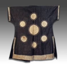 TAOIST SHAMAN'S ROBE / TUNIC WITH 7 SUNS MOTIF DONG MINORITY GROUP GUIZHOU PROVINCE, CHINA EARLY 20TH C. EMBROIDERED SILK WITH NATURAL DYES