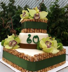 Flower and Bamboo Cake.  Real Flowers! $300.00