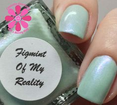 SuperChic Lacquer Figmint Of My Reality Swatch - Cosmetic Sanctuary; Brand: SuperChic Lacquer, Name: Figmint Of My Reality, Collection: Gaslighted, Color: Green, Shade: Light, Finish: Crème, Type: Shimmer