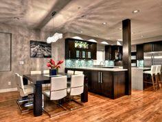 After: Sophisticated Dining - Gorgeously Dark Modern Kitchen on HGTV
