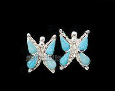 Pair Native American Zuni Silver Earrings -Butterflies (ij320) - Mission Del Rey…