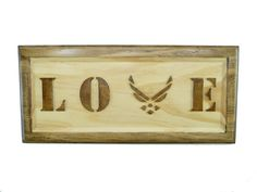 AIR FORCE LOVE Sign Wings Logo USAF Wooden, Valentines Day, Anniversary, Birthday, by CraftCreationsEtsy