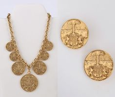VTG 1970s CHANEL GOLD MEDALLIONS COAT OF ARMS CREST LION NECKLACE EARRINGS SET #Chanel