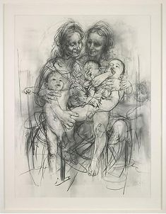 Jenny Saville - April 15 - May 15, 2010 - Images - Gagosian Gallery  -Reproduction Drawing IV (after the Leonardo cartoon), 2010. Pencil on paper. 89 5/16 x 69 5/8 inches