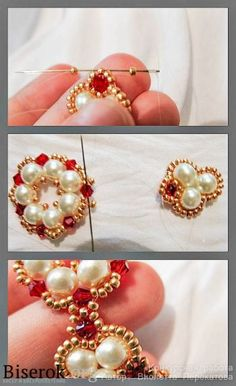 Seed bead jewelry Russian Master class - pictures & schema ~Seed Bead Tutorials Discovred by : Linda Linebaugh Beaded Beads, Beaded Bracelet Patterns, Jewelry Patterns, Beaded Earrings, Beading Patterns, Bead Jewellery, Seed Bead Jewelry, Beaded Jewelry, Jewelery
