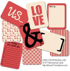 Love.. :)  Freebie filler cards for digital or printed scrapbooking.  3x4 will fit perfectly with project life projects too! Download the file here Enjoy! ...*td