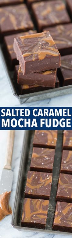 The BEST salted caramel mocha fudge with dulce de leche swirls and sprinkled the…